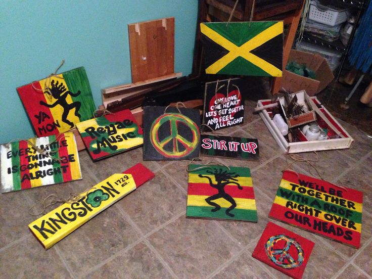 Hand painted signs for reggae party made from scrap wood. Nothing like this at party city and the price was right!