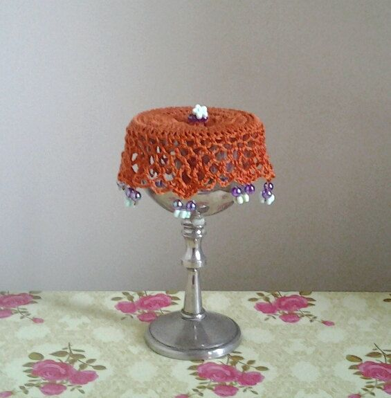 Orange Crochet Wine Doily cup cover or can cosy by frillydaisy