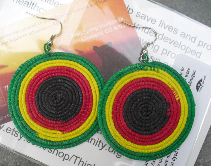 Earrings made out of yucca plant fibers and weaved and dyed vibrant colors. $12.50 includes shipping. This product is normally $15. http://charitygiftmarket.com/yucca-kufuma-earrings/
