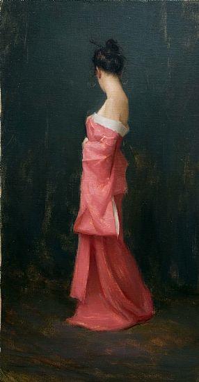 """Pink Kimono""    by Aaron Allen Westerberg   Oil34 x 16"