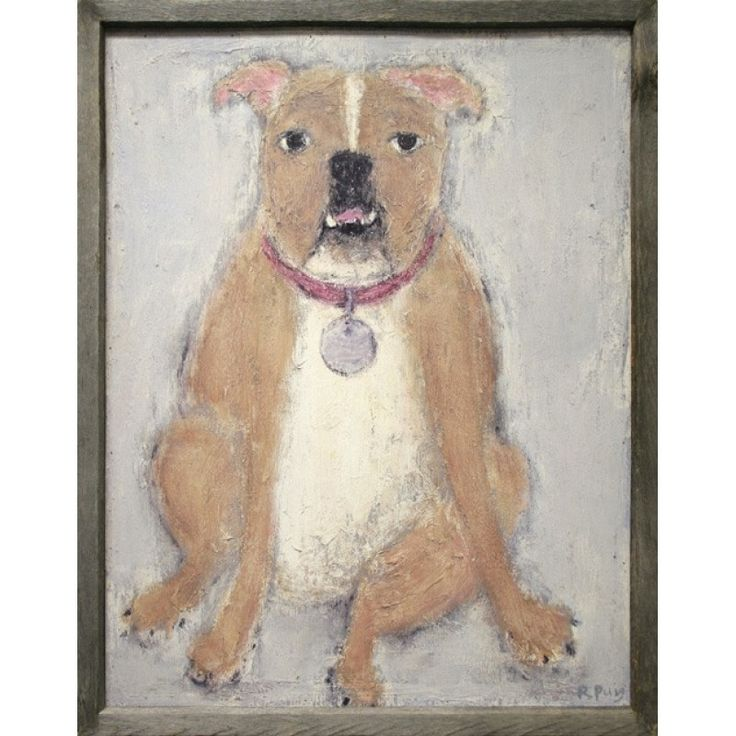 bulldog art print - The beautiful Bull Dog Art Print is carefully reproduced on natural hardwood and sports a stunning recycled wood frame. Boasting beautiful colors and whimsical imagery, this art print makes the perfect addition to any room in your home and will look great hanging on any dog lover's wall.