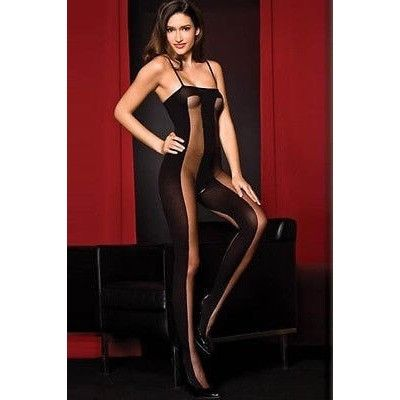 HOT SALE WOMEN HOT SEXY LINGERIE BLACK STRIPED CROTCHLESS TEDDY FISHNET BODYSTOCKINGS