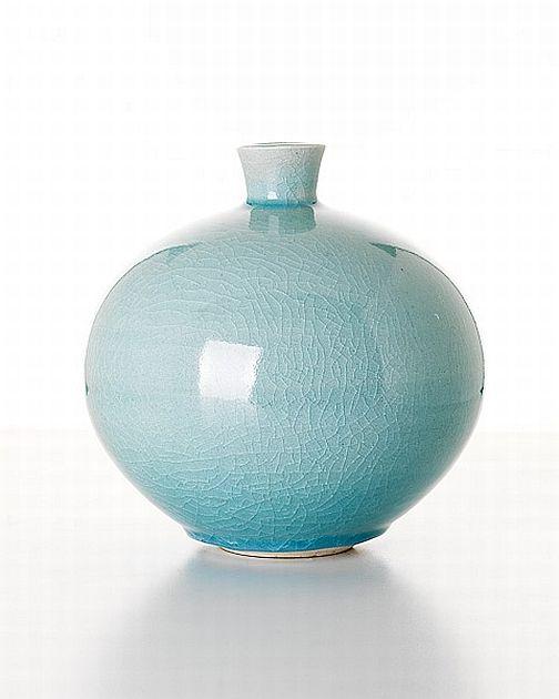 Shigeo Shiga, Pale Blue Pot.  antiquesreporter.com.au
