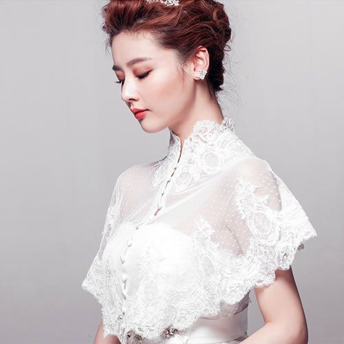 Off White Lace Embroidered Vintage Style Wedding Bridal Top Shrug Wrap SKU-11203229