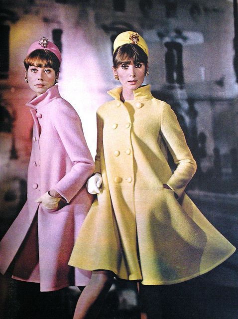 Jean Patou, 1966 fashion style color photo print ad models magazine designer yellow pink knee coats jackets 60s hat