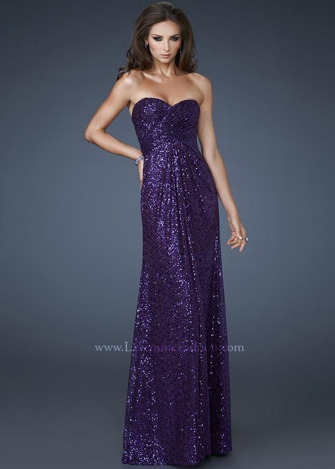 La Femme Majestic Purple Low Cut Back Prom Dress 18414