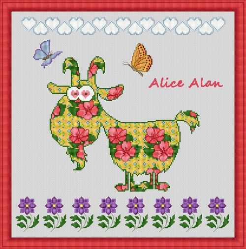 Spring goat in the flowers Counted Cross Stitch от HallStitch
