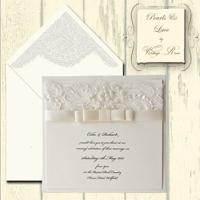 pearls and lace wedding invitations flat card evening invitations