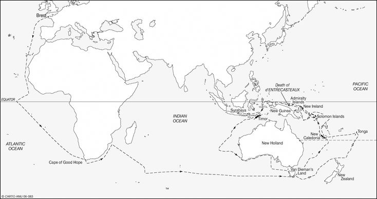 Figure 6.1 Map of d'Entrecasteaux's voyage, 1791–94.