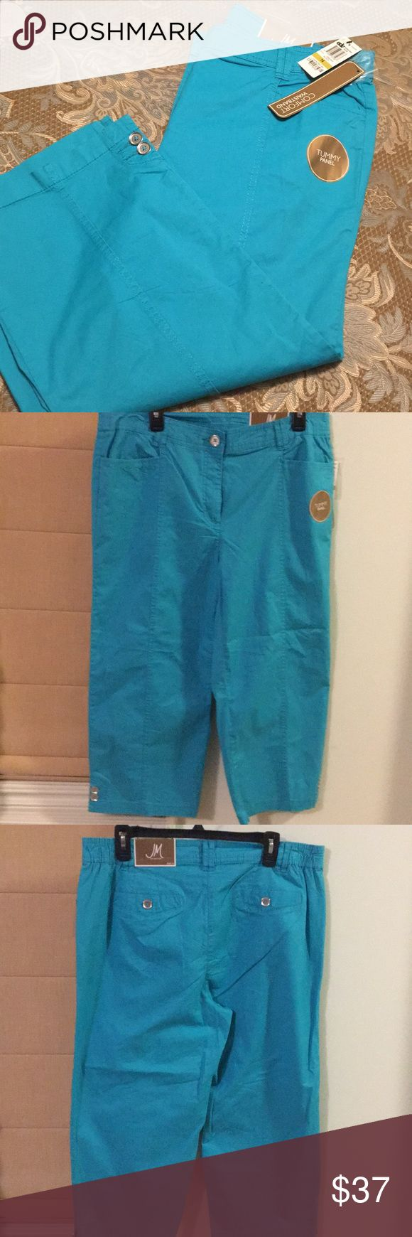 Light blue ladies gorgeous Capri pants size 14 From JM Collection ! Elastic waist band for extra comfort ..Tummy Panel . Very cool n great wear for Spring/Summer time 👍🏻❤️ JM Collection Pants Capris
