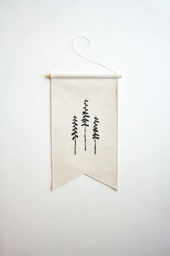 Petite toile bannière  trois arbres  bannière par SmallBranches