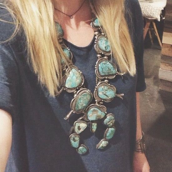 """Squash Blossom Necklace from """"Introducing New Worlds With A Shrug"""""""