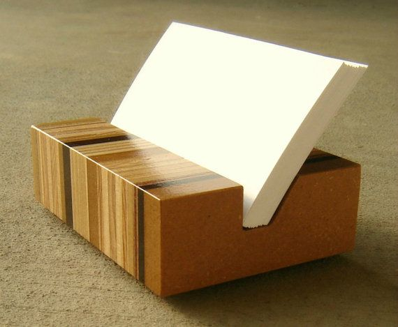 Business card holder retro modern mid century for Woodworks design office 8