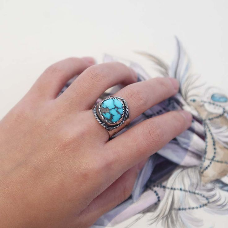 Unisex Cloud Mountain Turquoise cuff ring