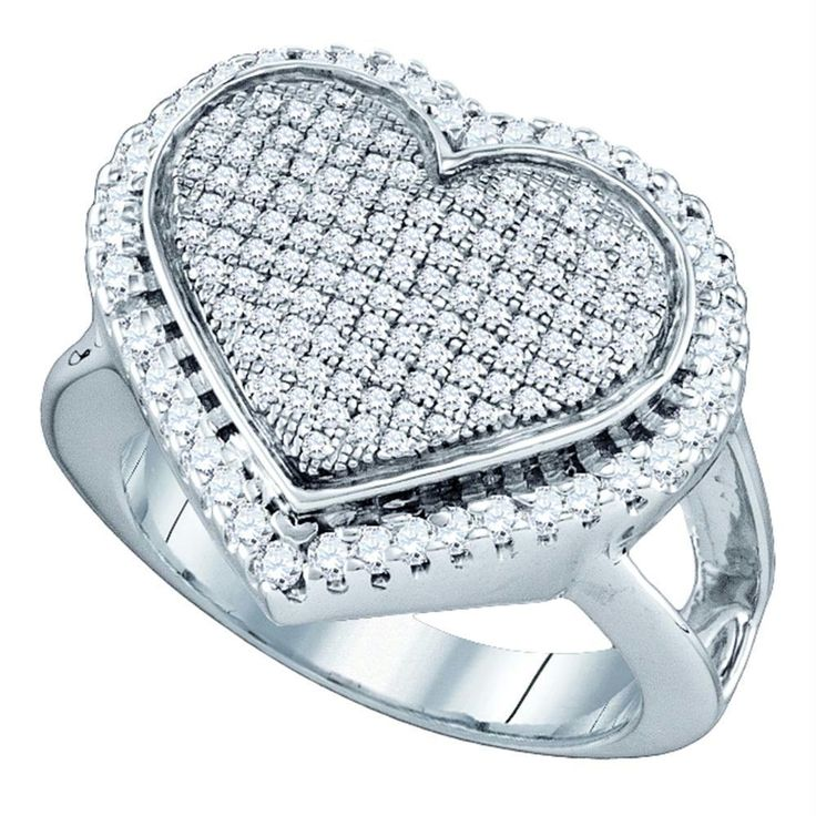 Sterling Silver Women's Round Diamond Heart Cluster Ring 3/4 Cttw - FREE Shipping (US/CAN)