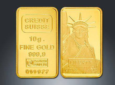 Credit Suisse Gold bullion bars for sale. 1 - 10 gram gold bars