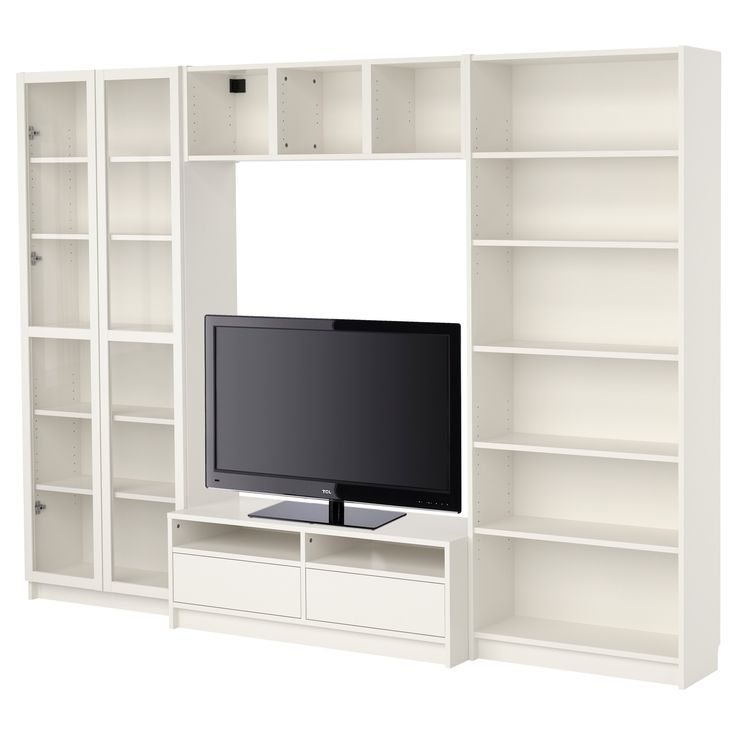 BILLY Bookcase Combination With TV Bench White IKEA