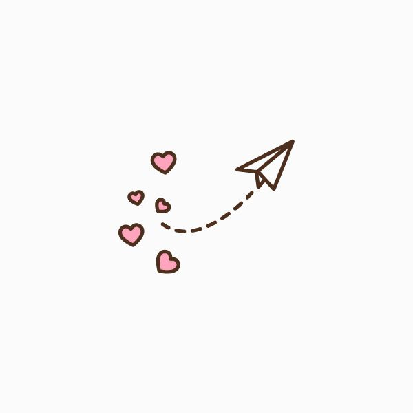 Paper Airplane With Hearts Flat Icon With Images Paper Airplane Tattoos Paper Airplane Drawing Paper Hearts