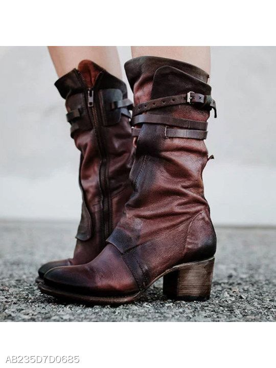 64c6fe65b160 Chunky High Heeled Round Toe Date Outdoor Mid Calf High Heels Boots -  berrylook.com