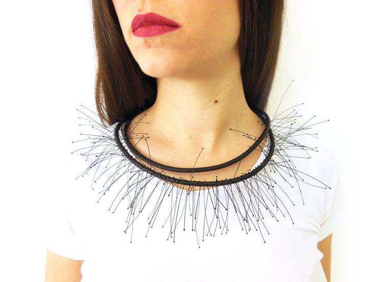 Ismini Pachi | Internal explosion neckpiece - bronze, silicone, monofilament