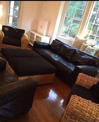Ralph Lauren Black Leather Couch    eBay