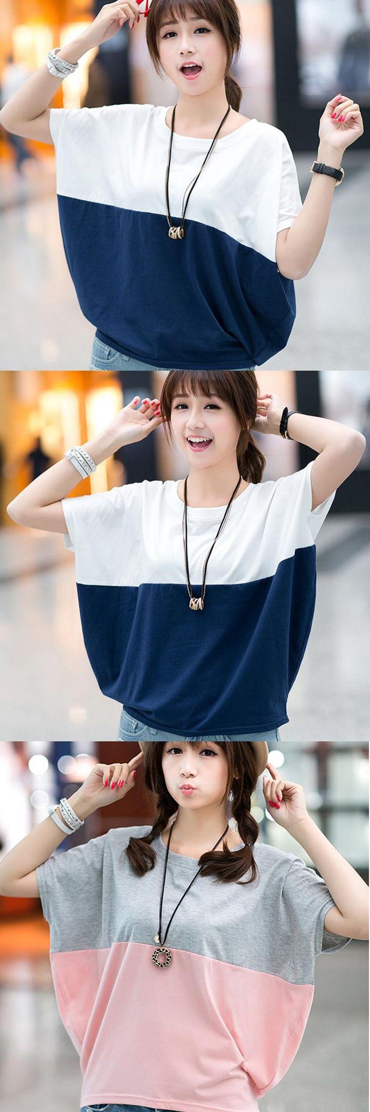 New Sexy Elegant Women tops Short Batwing Sleeve O-Neck Cotton Spring Summer Women T-Shirt Plus Size Loose Female T-Shirt
