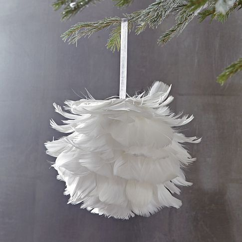 "Feather Ball ornament  6"" dia  http://www.westelm.com/products/feather-ball-ornament-c411/?pkey=cchristmas-ornaments  $9"