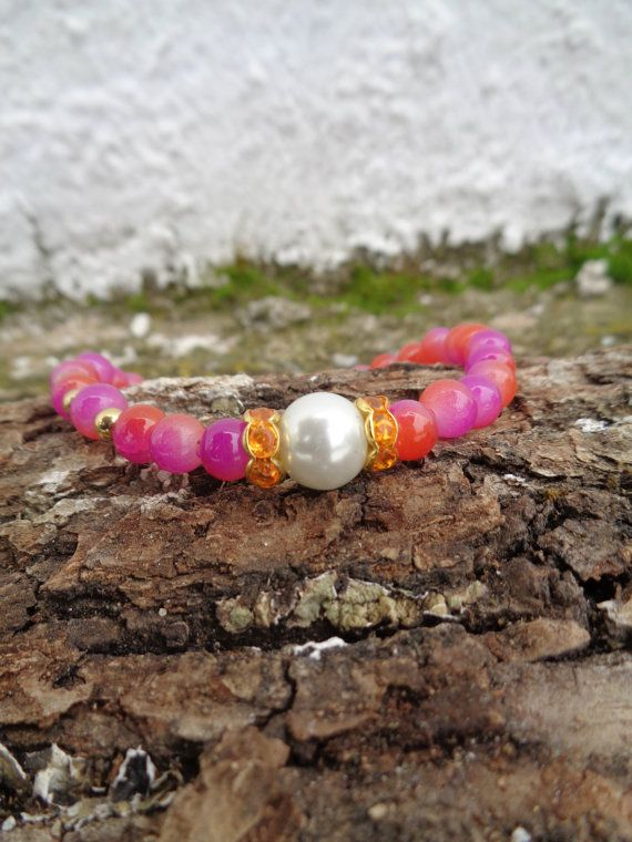Duotone pink indian princess OOAK friendship bracelet / Bohemian bracelet / Summer bracelet/ Neon bracelet /Indian jewelry / Ethnic bracelet