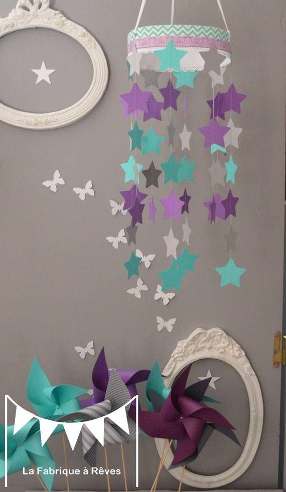 Mobile suspension étoiles turquoise gris et violet mauve - décoration chambre bébé enfant garçon fille