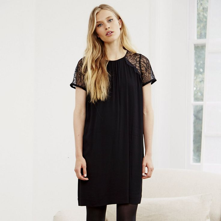 Lace Sleeve Dress - Black | The White Company