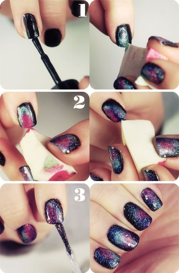DIY GALAXY NAILS  *Note* Make sure to apply the green/pink while the black is still damp so you can mix colors from there for a more blended look.