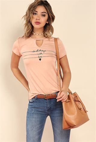 Do All Things With Love Cutout Graphic Tee
