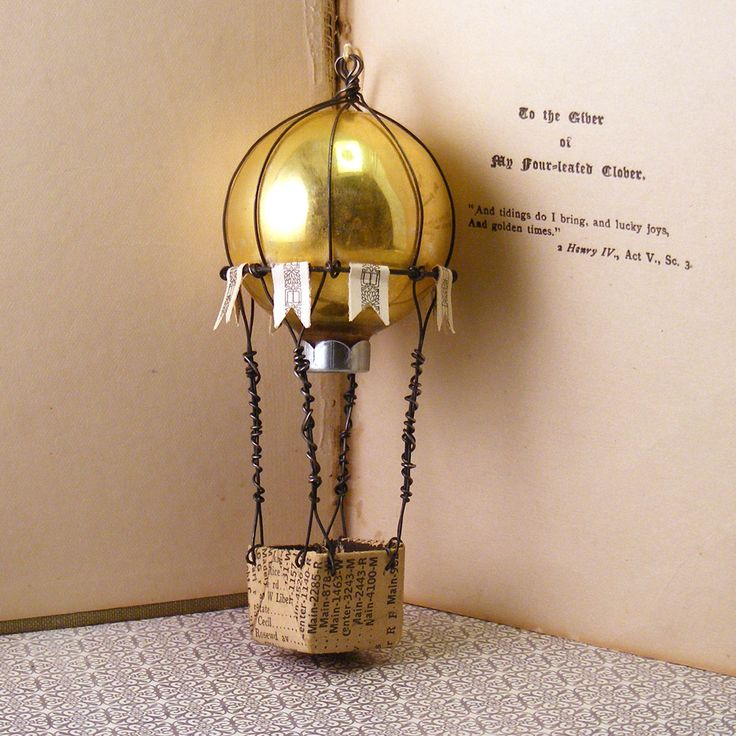 Great crafting idea, make a balloon from a vintage Christmas ornament!  From Hopemore Studio: Up up and away
