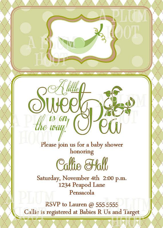Sweet Pea in a Pod Baby Shower Invitation by APlumHoot on Etsy, $12.00