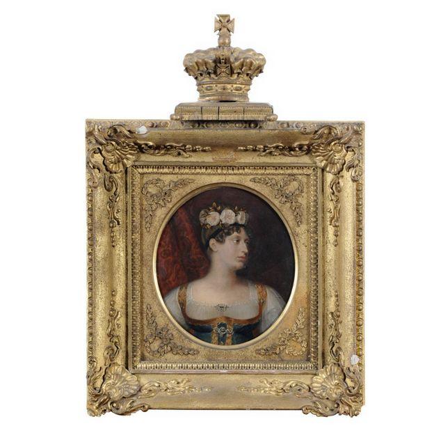 Quadro Frances pintado a oleo a maneira de Jean Baptiste Regnault do sec.19th, Imperatriz Josephine, 19cm X 16,5cm, 8,360 reais / 2,835 euros / 3,835 usd