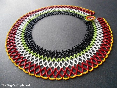 Fiesta Collar. Color Blocked Red Green Yellow Beaded Necklace