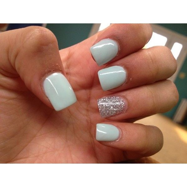 Super cute mint silver acrylic nails ❤ liked on Polyvore featuring beauty products, nail care and nail treatments