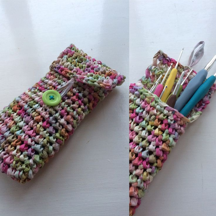 Paper yarn hook case I made with Rico creative paper. But usual yarn to work with but fun to try!