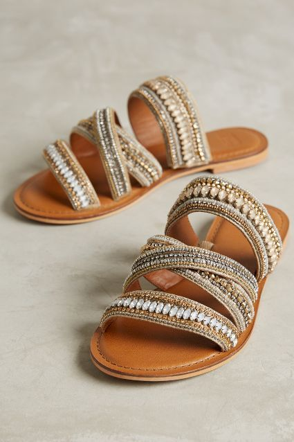 Size 38 | Jasper & Jeera Azille Slides (neutral motif) - anthropologie.com