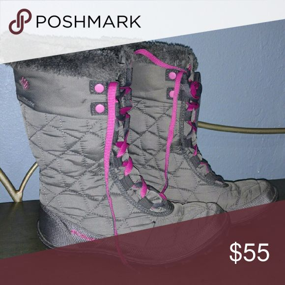 Columbia Kids Minx Mid II Omni-Heat Waterproof Worn 8 times with thick socks.  Great for the snow! Will keep your feet/or your child's feet warm in cold weather. I'm a women's size 5 and these fit awesome with a thick sock. If your child is a size 4 I would not recommend these unless you're going to wear a thin sock. They run a bit small. They are in great condition. Columbia Shoes Rain & Snow Boots