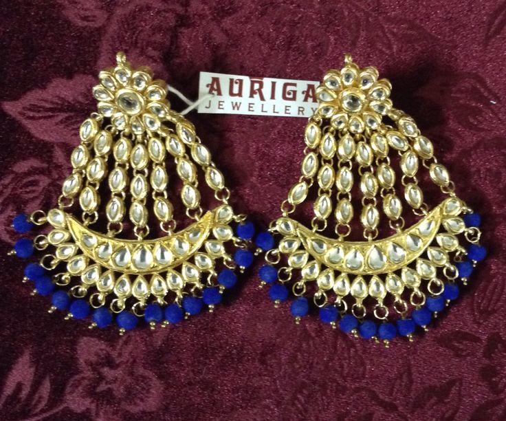 Passa jhoomer earrings with blue velvet beads by Auriga !