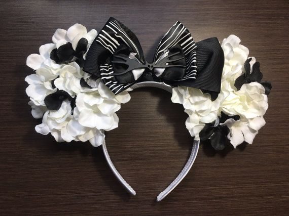 """Nightmare Before Christmas"" Jack Skellington Minnie Mouse Floral Disney Ears"