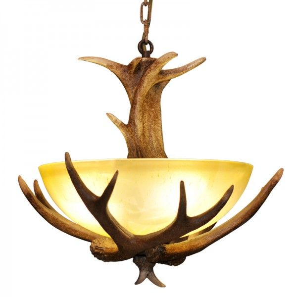 Faux Antler 3 Lights Foyer Pendant Light with Frosted Glass Bowl Shade