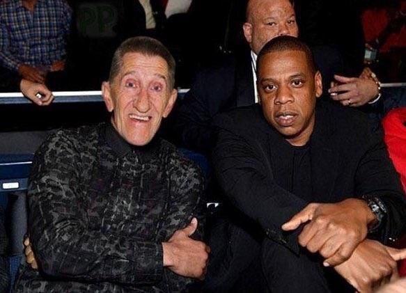 Barry Chuckle sat next to a fan at the Joshua v Klitschko fight