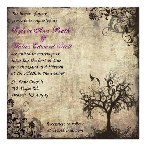 Gothic Wedding Invitations Plum New Life Vintage Wedding Invitation