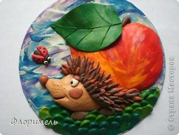 Картина панно рисунок Аппликация из пластилина + обратная Лепка Похититель яблок Пластилин фото 1