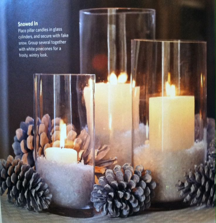 """Snow"" and candle centerpiece"