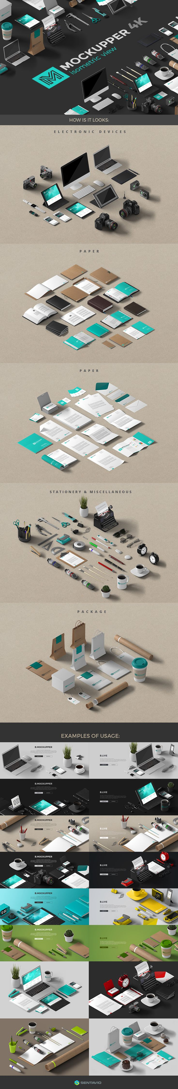 Mockupper Isometric Scene Generator on Behance Mockupper : Isometric view 4K - 100+ High resolution and quality mockup objects scene generator which will help you to create different images such as Product promo, Identity, Hero images and other compositions.  *Mockupper : TOP view 4K is here: https://creativemarket.com/Sentavio/878451-Mockupper-Scene-Generator-topview-4K Objects included in Mockupper: Electronic devices Package Paper Miscellaneous