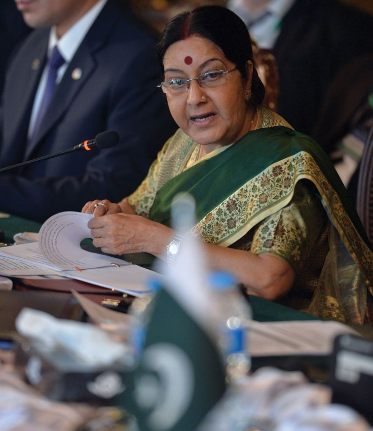 Indo-Pak Relations at an Inflection Point: Will Pakistan's Spy Games be Its End Game? File photo of Indian Foreign Minister Sushma Swaraj as she makes a speech on the First day of the Heart of Asia conference in Islamabad on December 9, 2015. (Aamir Qureshi/AFP/Getty Images)    @Siliconeer #Siliconeer #India #Pakistan #IndoPakRelations #KulbhushanJadhav #IndoPakRelations #RAW @NaMo #NaMo @Narendramodi #NarendraModi @SushmaSwaraj – Relations between India and Pakistan, htt