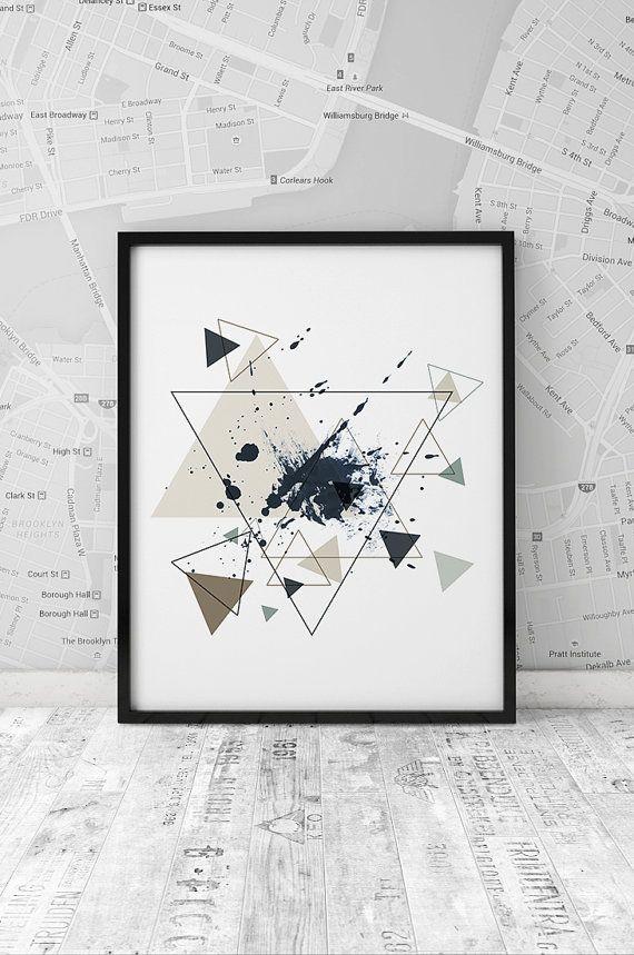 Minimalism poster, printable print, Geometrical printable art, Triangle art, Wall art, Digital print, Abstract art poster, INSTANT DOWNLOAD.